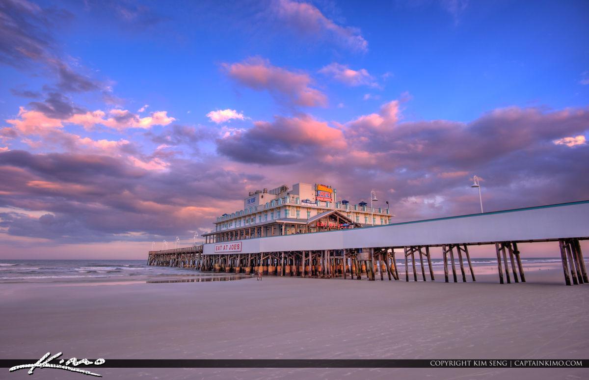 Daytona Beach Boardwalk and Pier Purple Colors