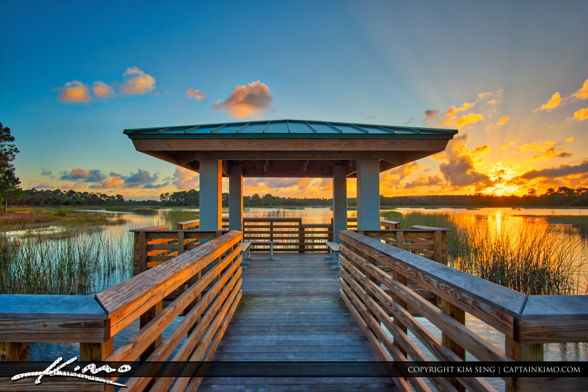 Sunset at Winding Waters Natural Area Boardwalk Aurora