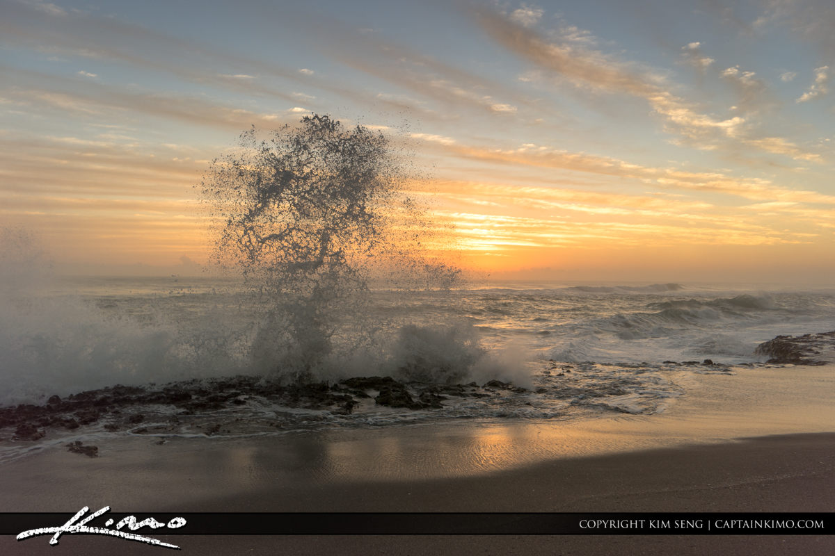 Blowing Rock Wave Splash along Shore