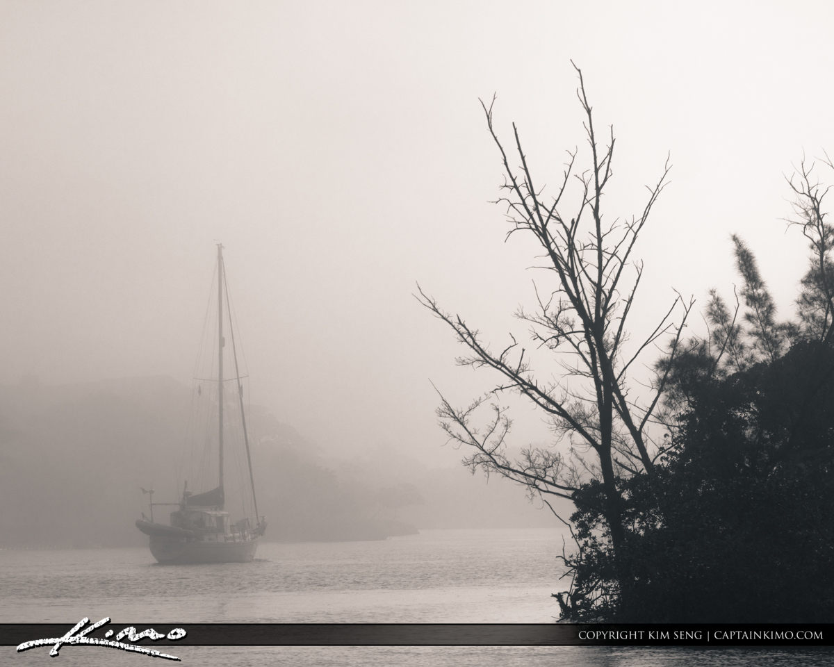 Sailboat at Jupiter Waterway Foggy Morning