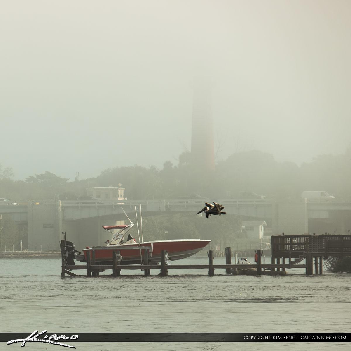 Jupiter Lighthouse US 1 Bridge Fog Pelican