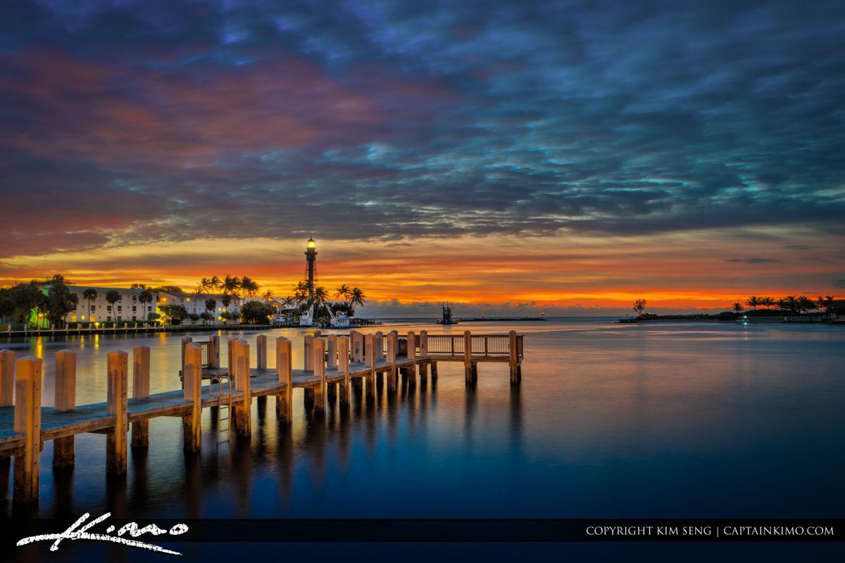 Hillsboro Lighthouse Sunrise Colors at Inlet Square