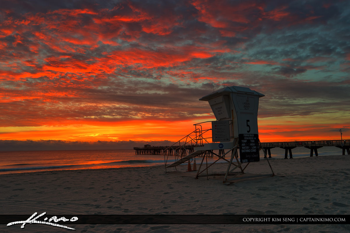Sunrise at the Pompano Beach Pier with Explosive Colors