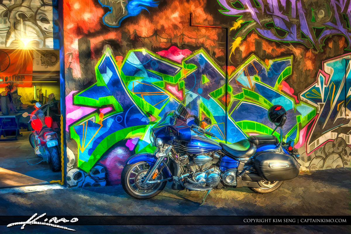 Motorcycle with Graffiti Art West Palm Beach