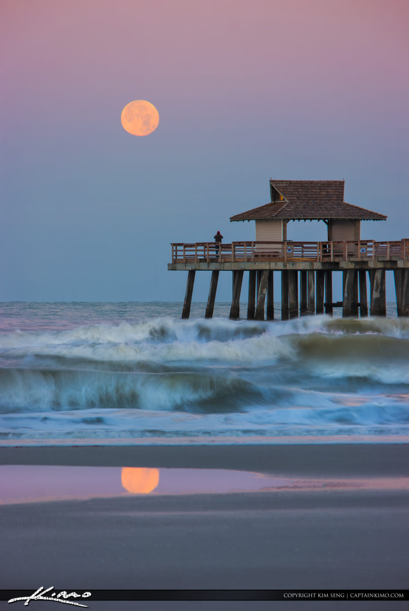 Naples Pier Moon Setting Over Gulf Coast
