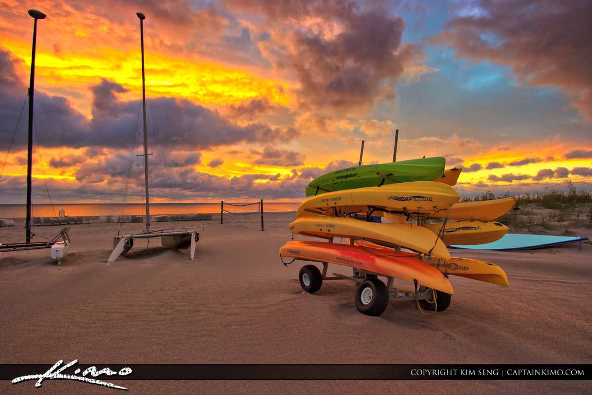 Beautiful Glow at Delray Beach with Kayaks