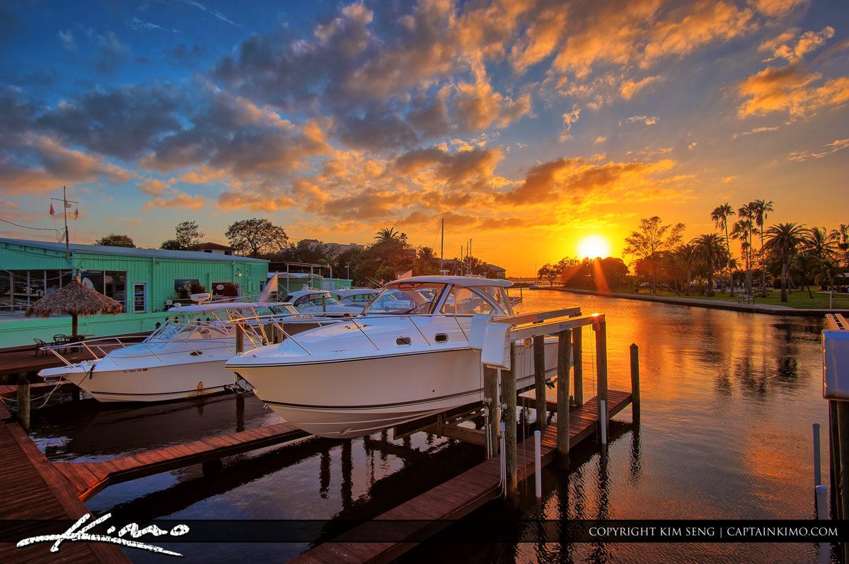 Stuart Florida Sunset at Marina by Shepard Park