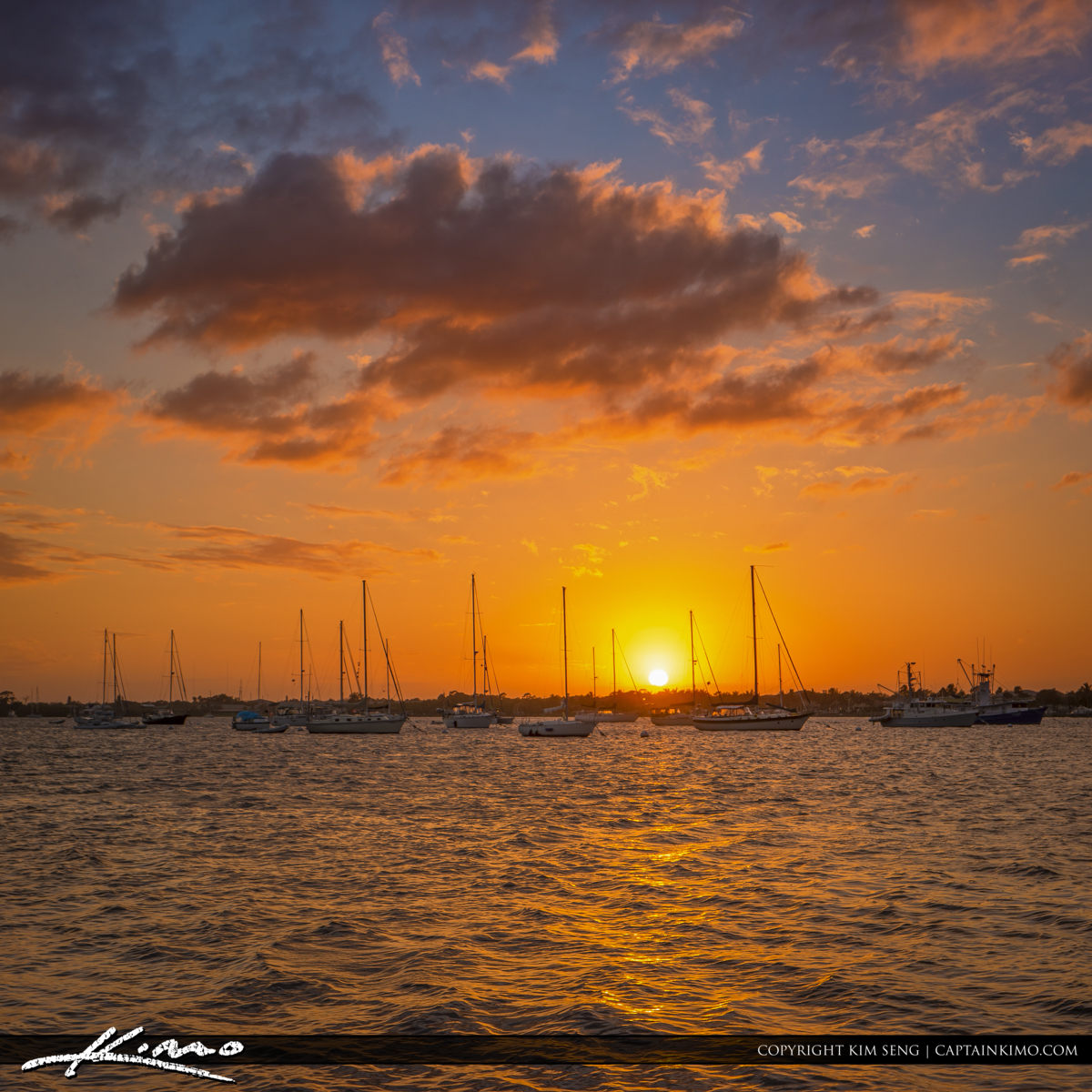 Sailboats at St Lucie River in Stuart for Sunset