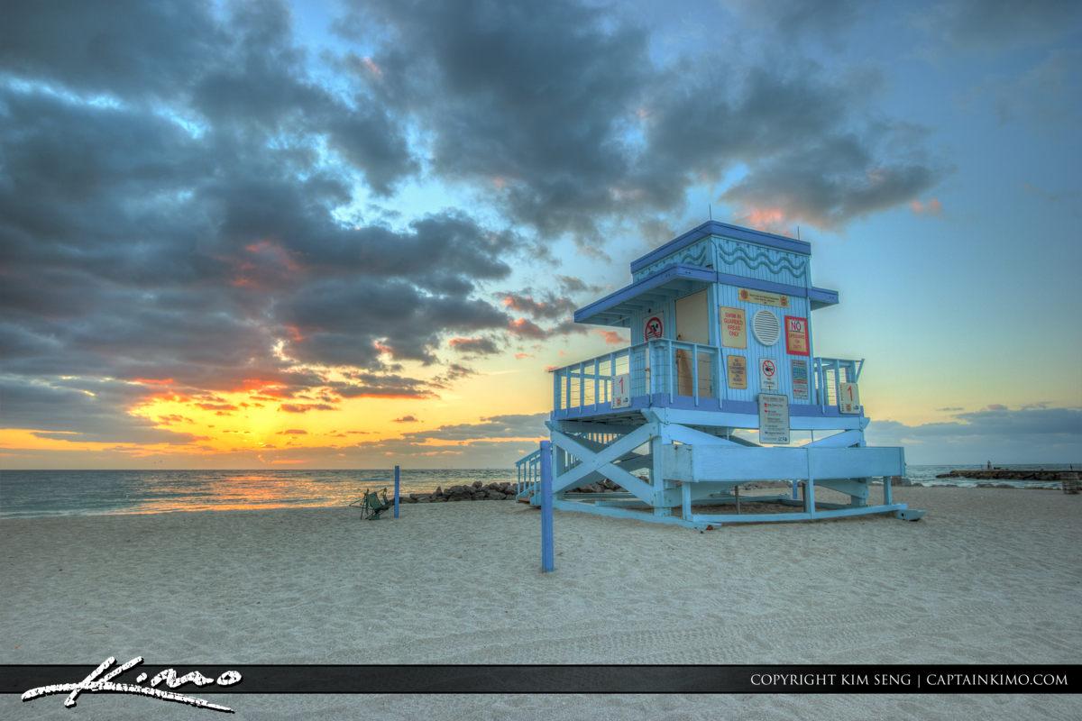 Haulover Park Florida Lifeguard Tower at Sunrise