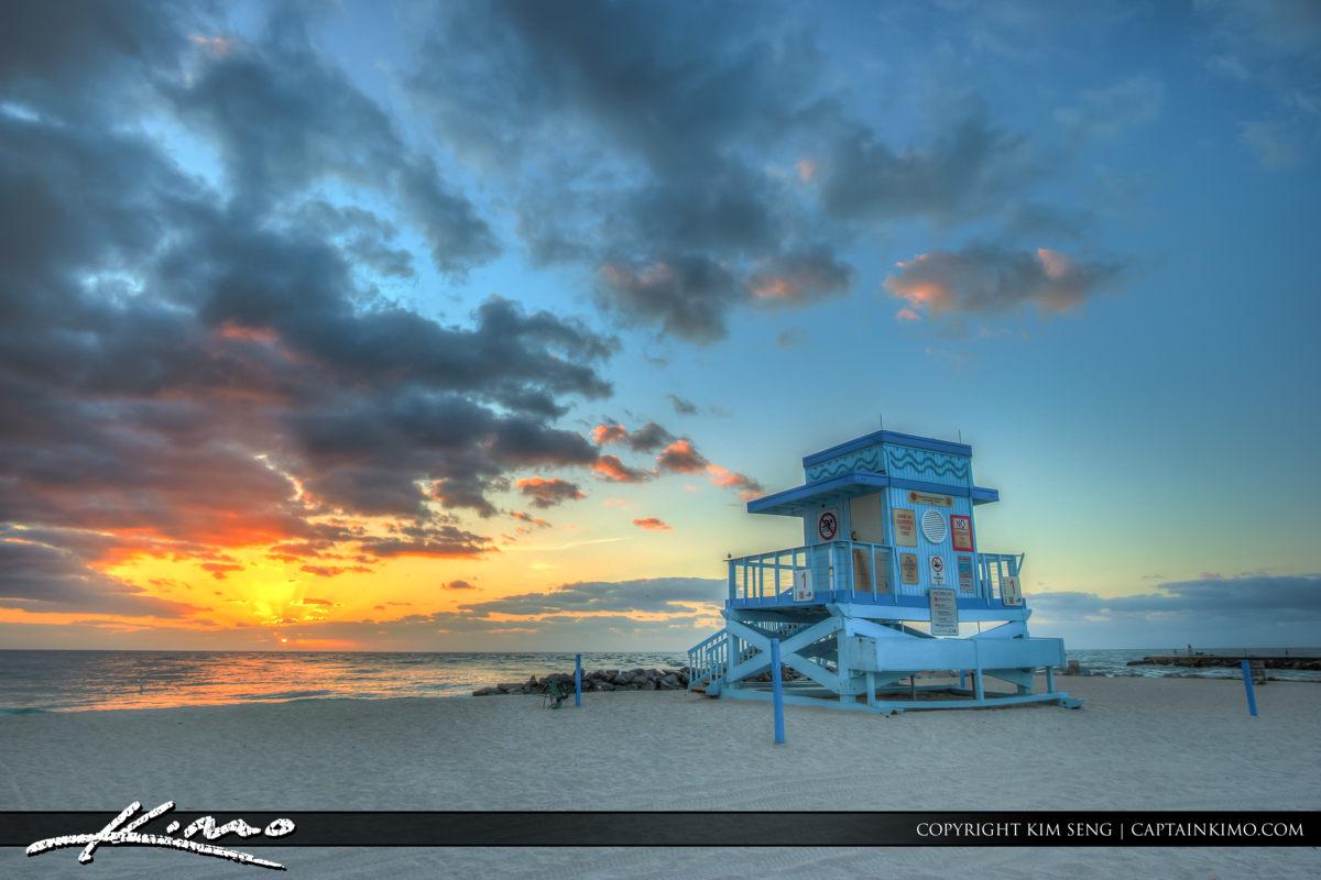 Haulover Park Florida Lifeguard Tower Sunrise Over Ocean