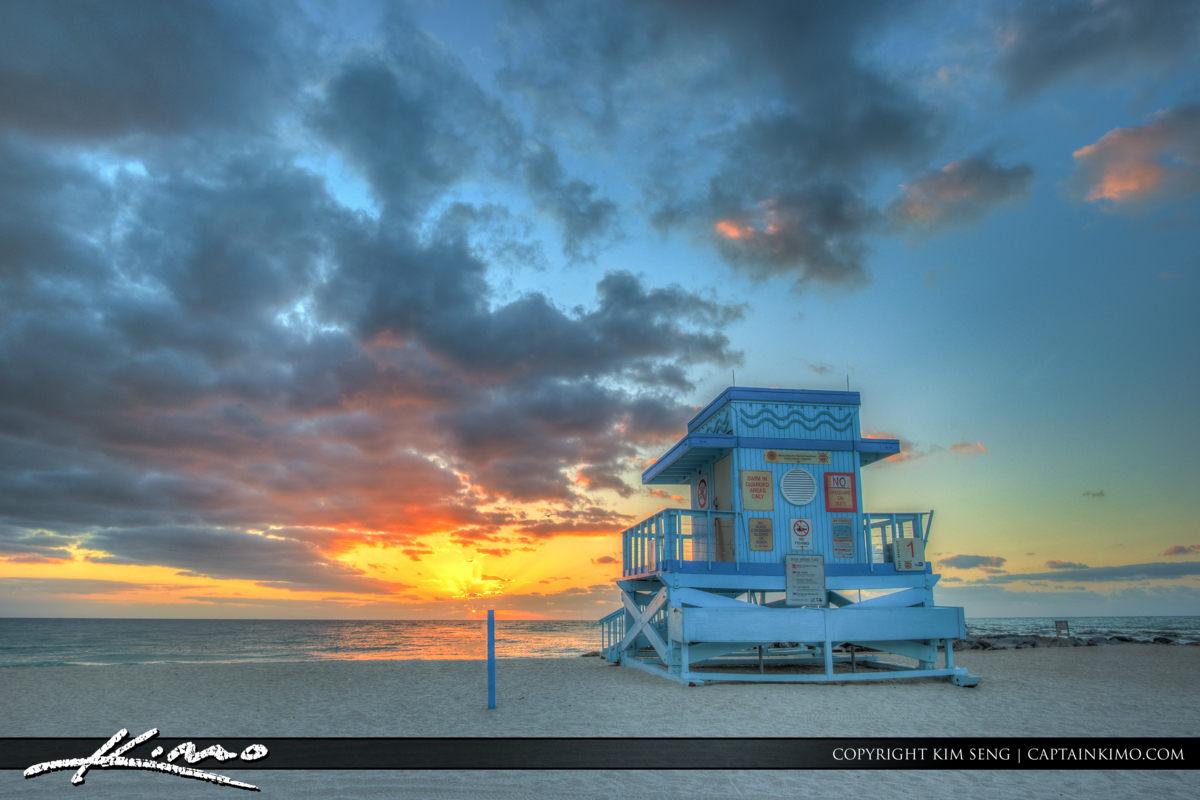 Haulover Park Florida Sunrise behind Gaurd Tower