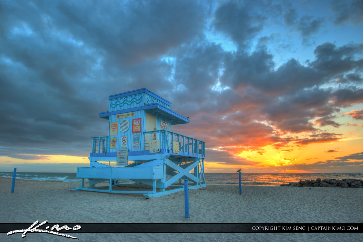 Haulover Park Florida Awesome Sunrise at Lifeguard Tower