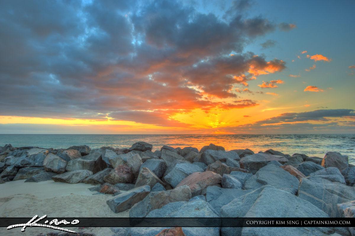 Haulover Park Florida Rocks at Beach Sunrise