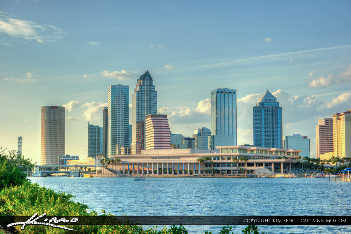 Tampa Florida Skyline along Waterway