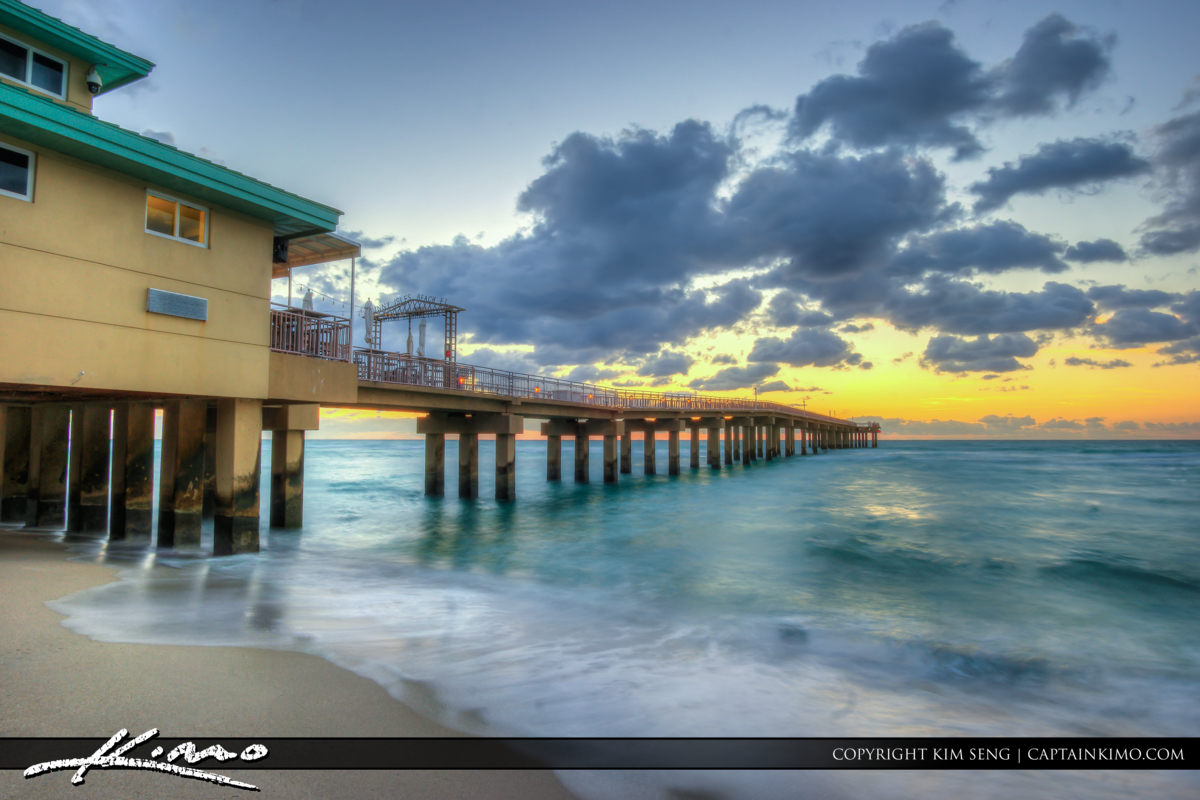 Sunny Isles Florida Pier and Smooth Ocean Water