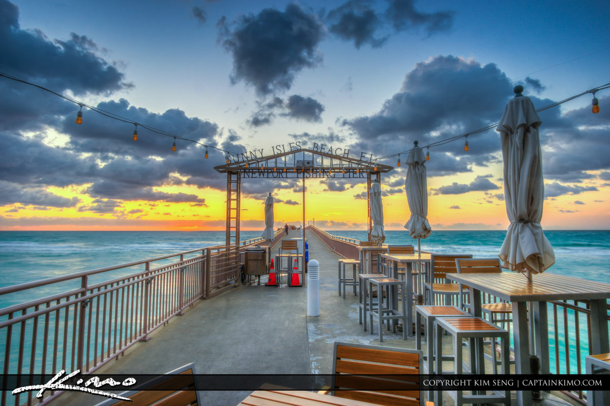 Newport Beach Fishing Pier Sunrise Sunny Isles Florida