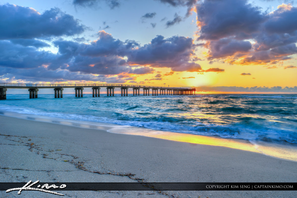 Sunny Isles Florida Newport Fishing Pier at Sunrise