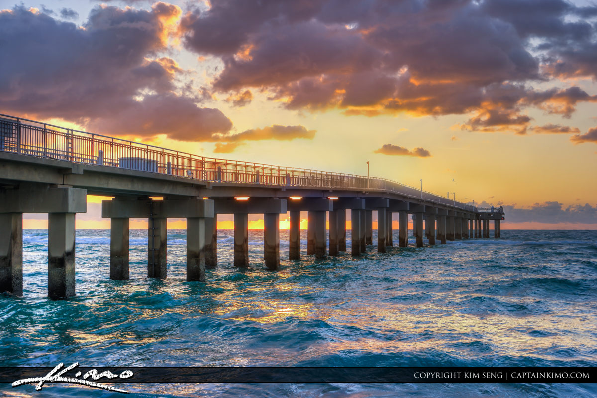 Sunny Isles Florida Pier Over the Ocean Sunrise