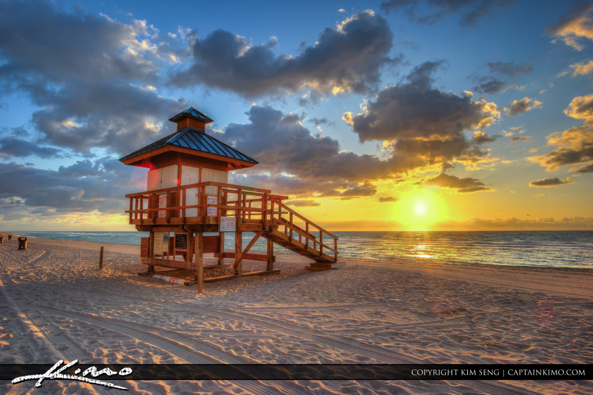 Sunny Isles Florida Lifeguard Tower Sunrise at Beach