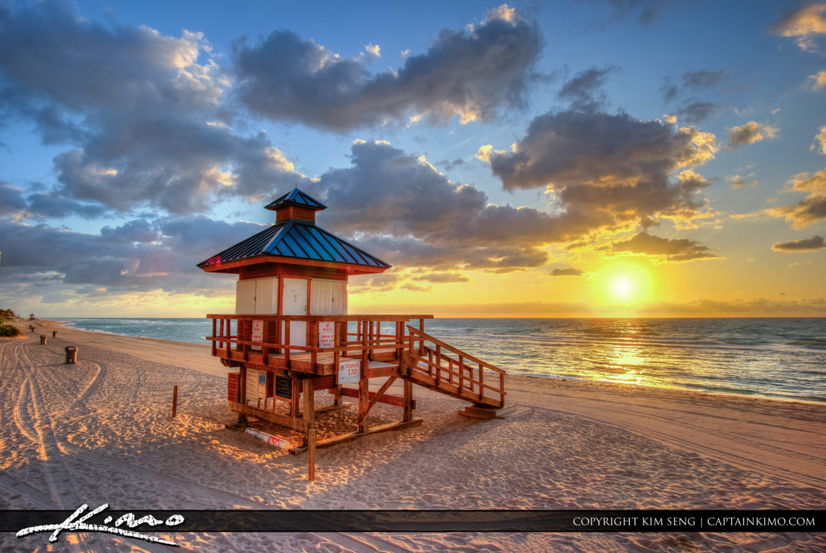 Sunny Isles Florida Guard Tower Sunrise at Beach