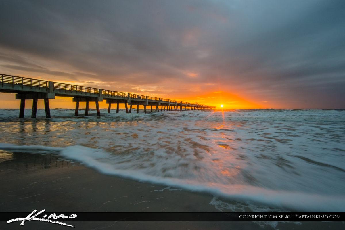 Jacksonville Beach sunburst with ocean wave