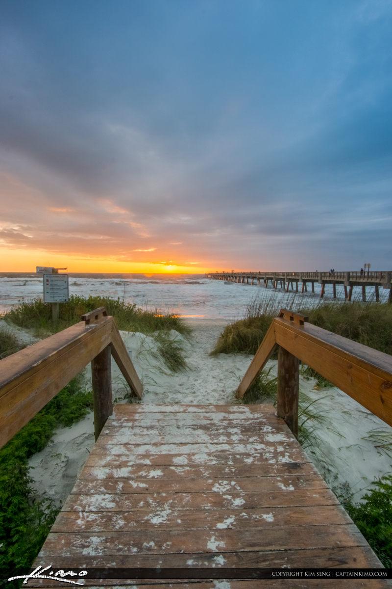 Jacksonville Beach boardwalk entrance to the beach