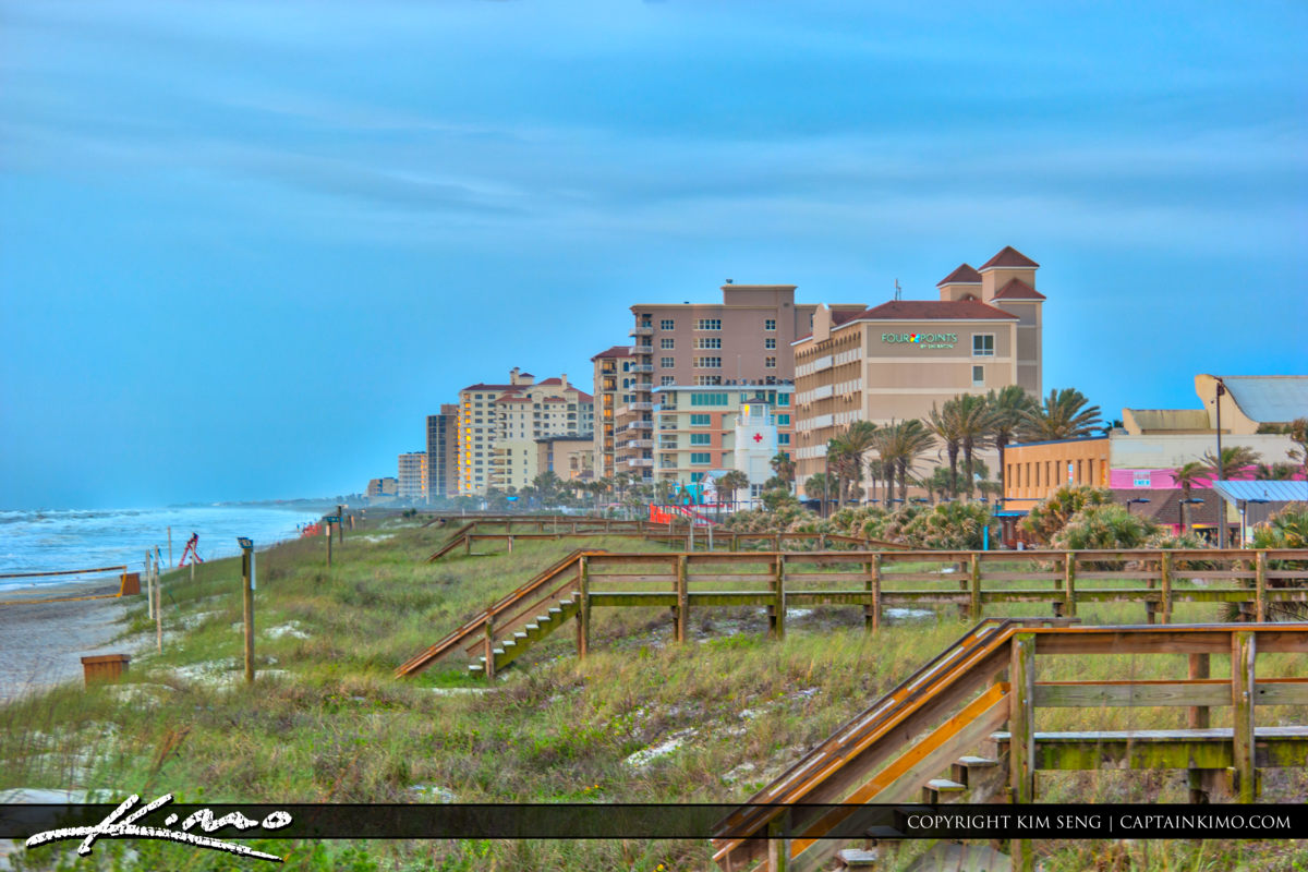 Jacksonville Beach boardwalk to the beach with oceanfront condos