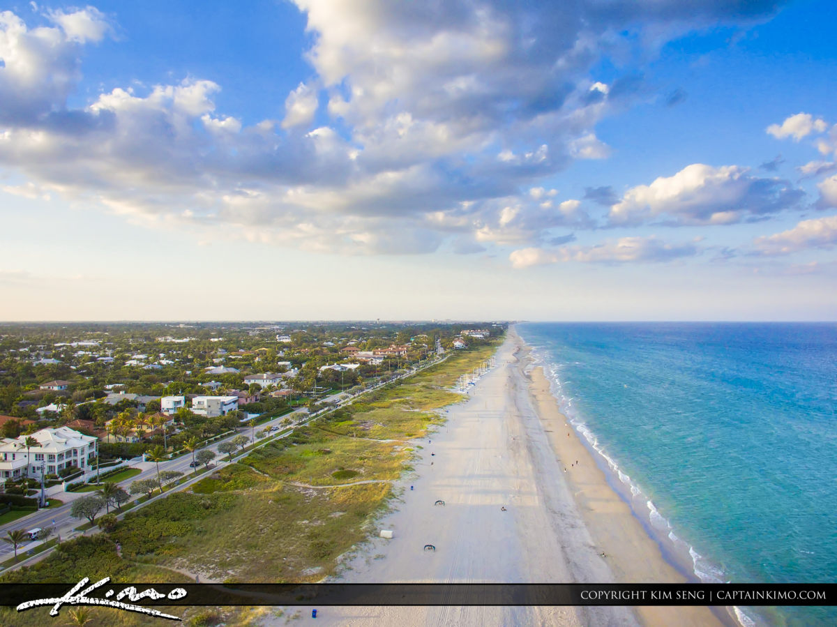 Delray Beach Aerial Over Waterway City Downtown