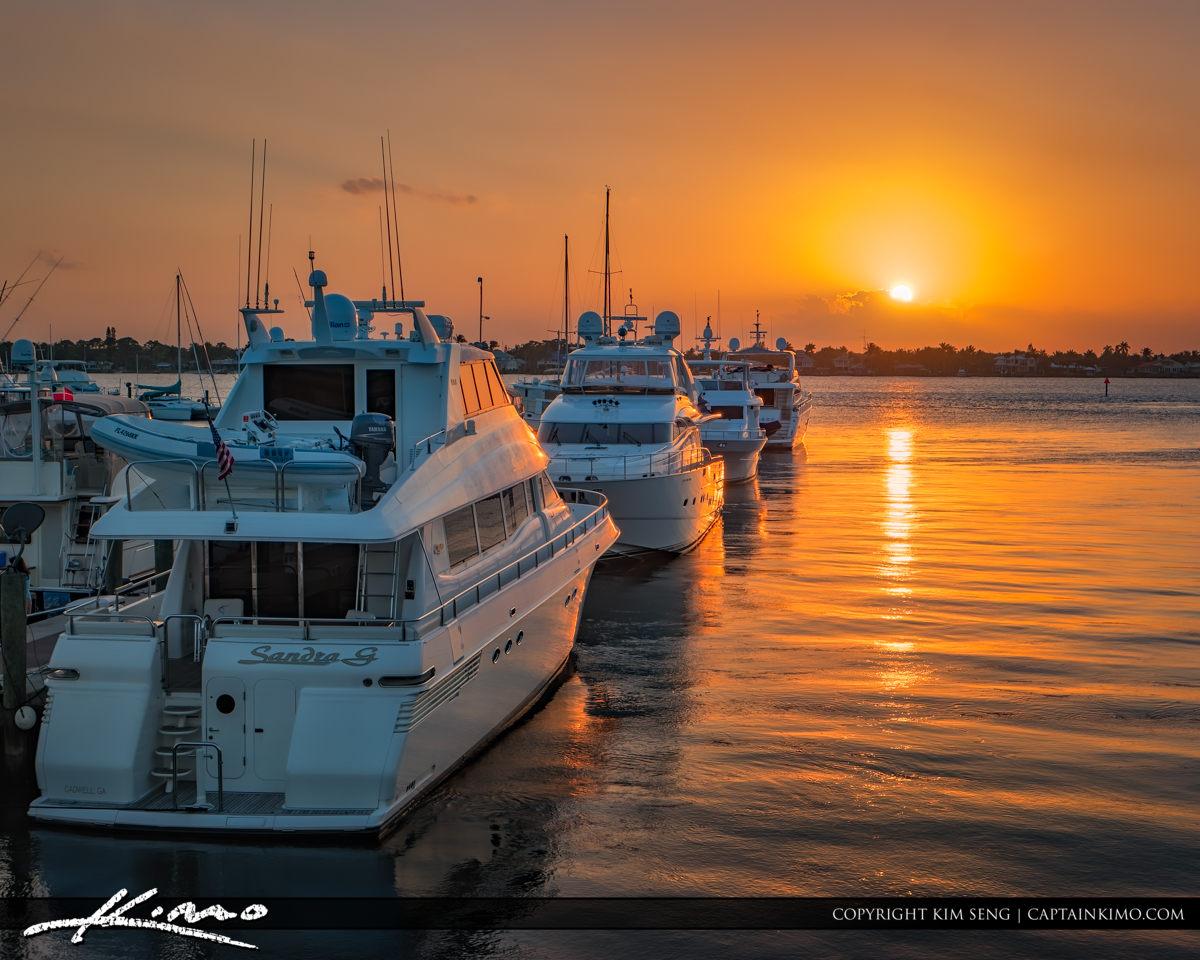 Sailors Return Sunset at Marina Stuart Florida