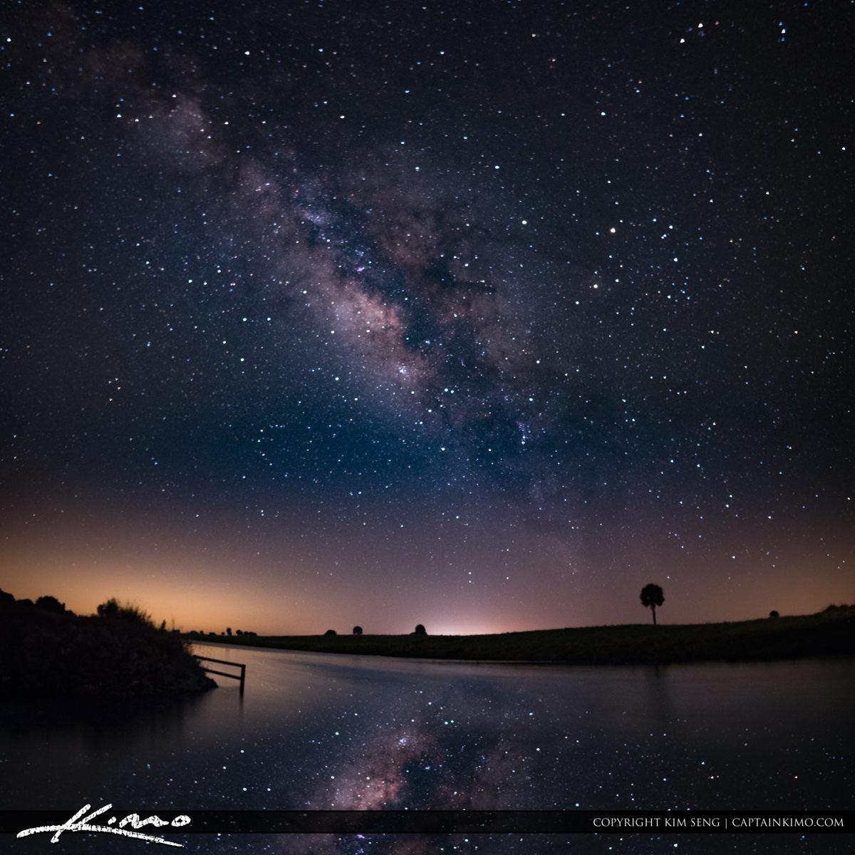 Milkyway Over West Okeechobee Florida at Small Lake