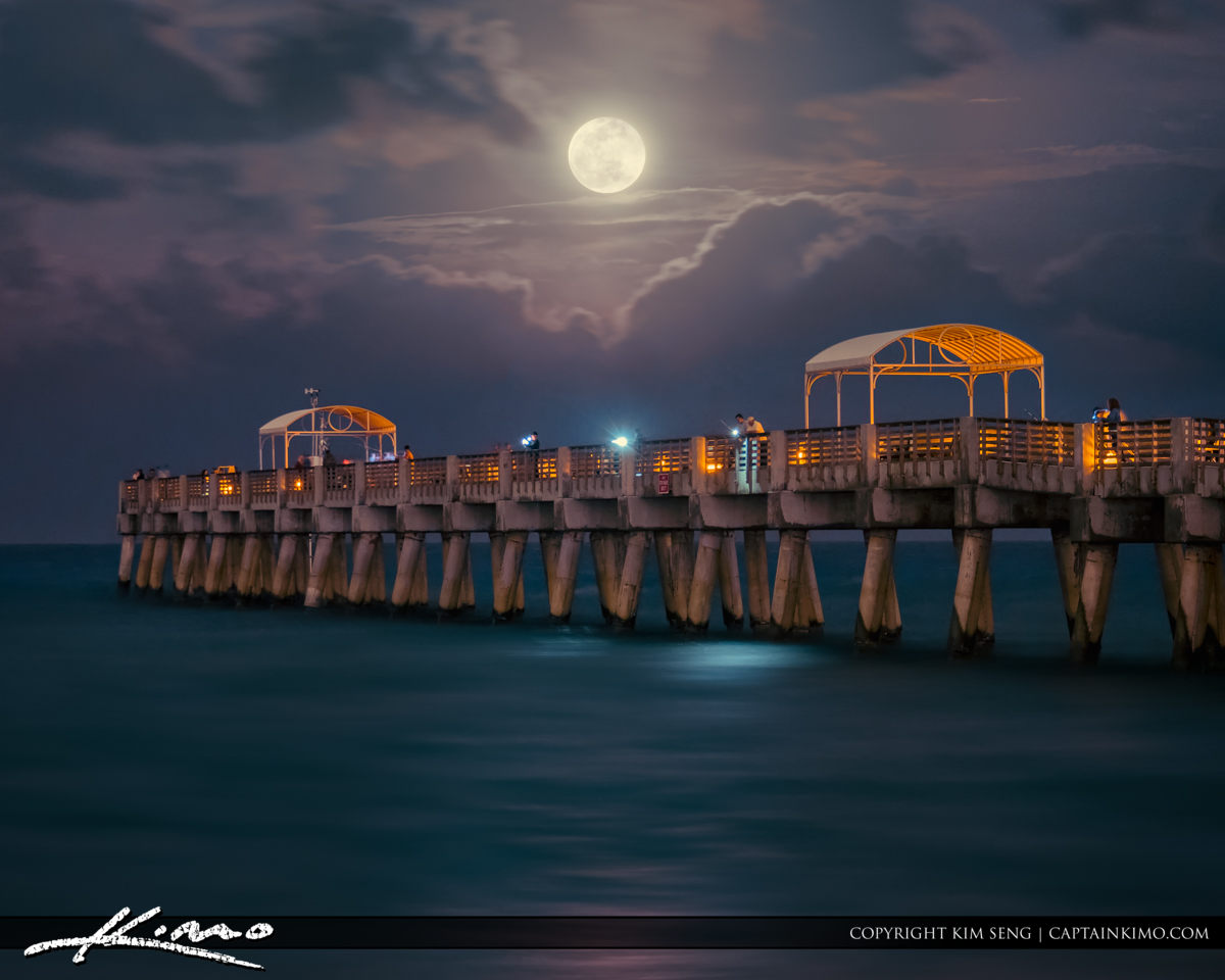 Lake Worth Pier Full Moon