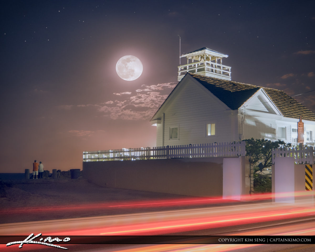 Moon Rising Over House of Refuge Stuart Florida