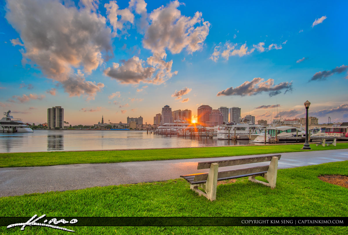 West Palm Beach Skyline Sunset Bench