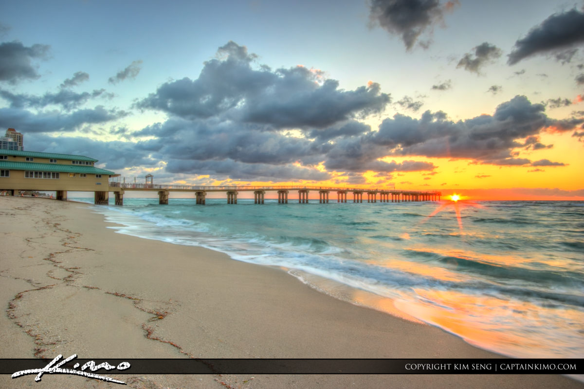 Sunrise at Sunny Isles Fishing Pier Over Ocean