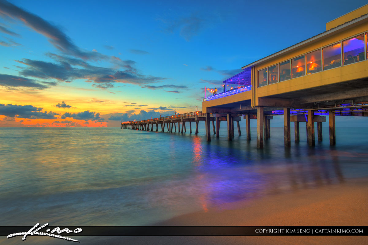 Dania Beach Pier with Beautiful Morning Glow Over Ocean