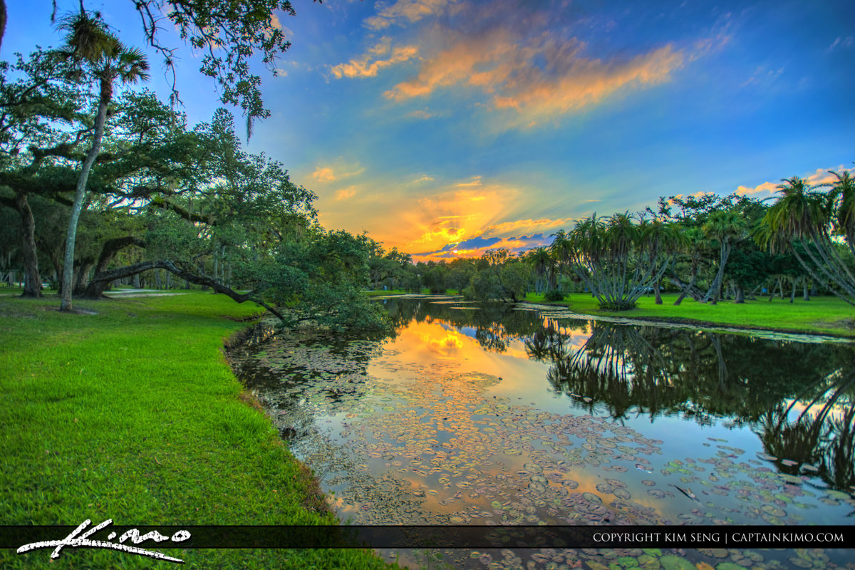 Fort Pierce White City Park Pond at Sunset