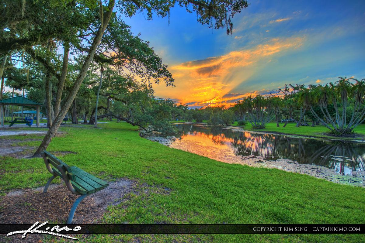 Fort Pierce White City Park Bench at Sunset Pond
