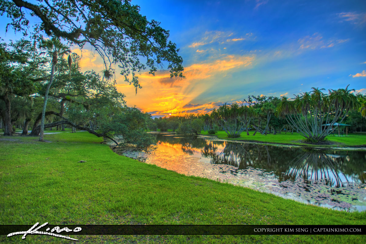 Fort Pierce White City Park Sunset Along Pond