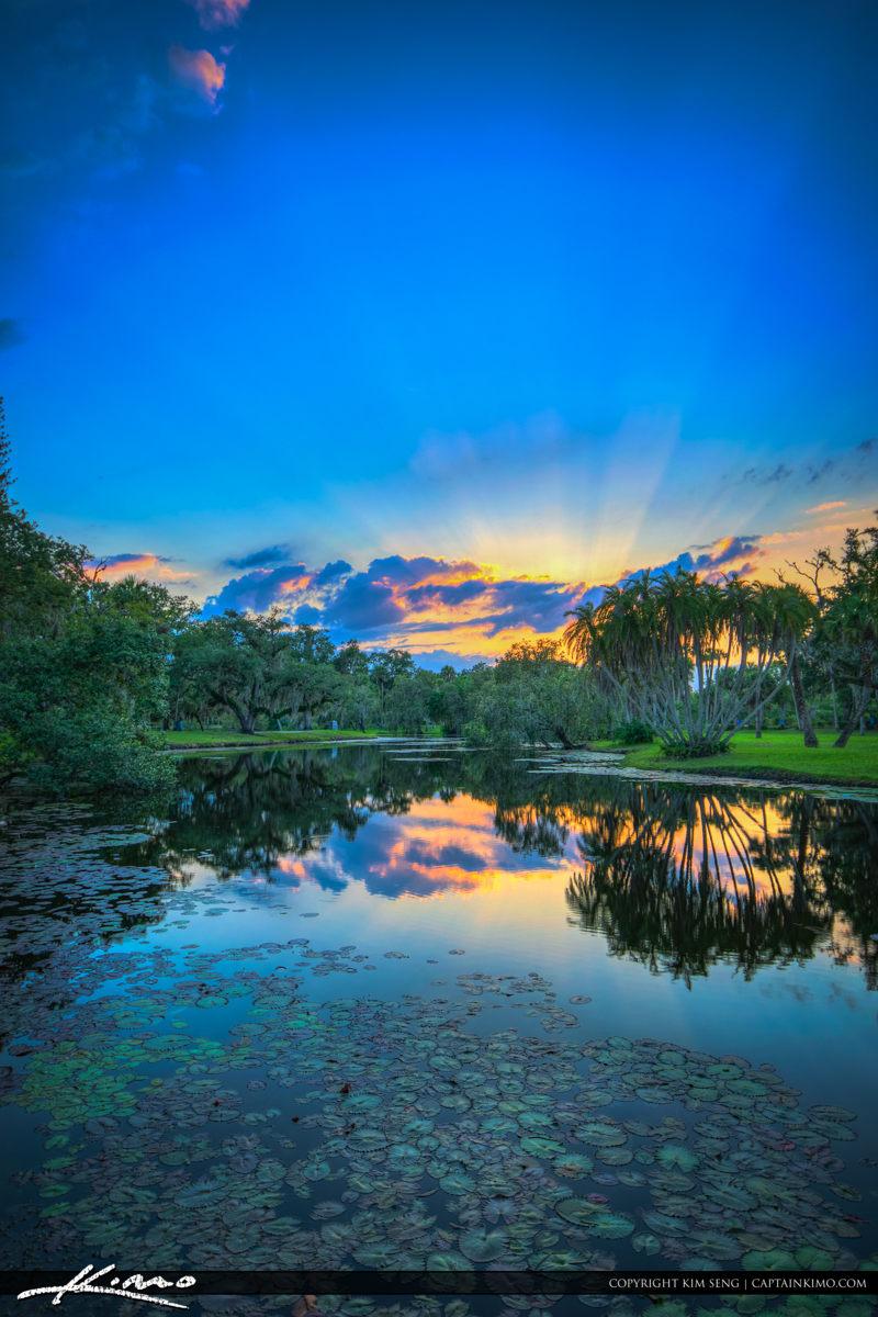 Fort Pierce White City Park Sunset at the Pond