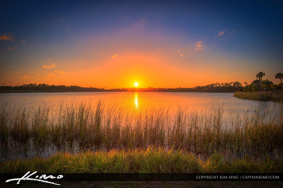 Fort Pierce George LeStrange Preserve Sunset Over Lake