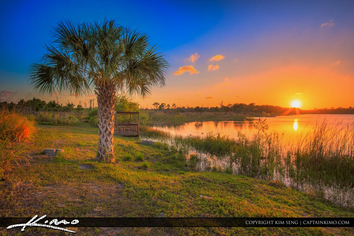Fort Pierce George LeStrange Preserve Sunset at Lake