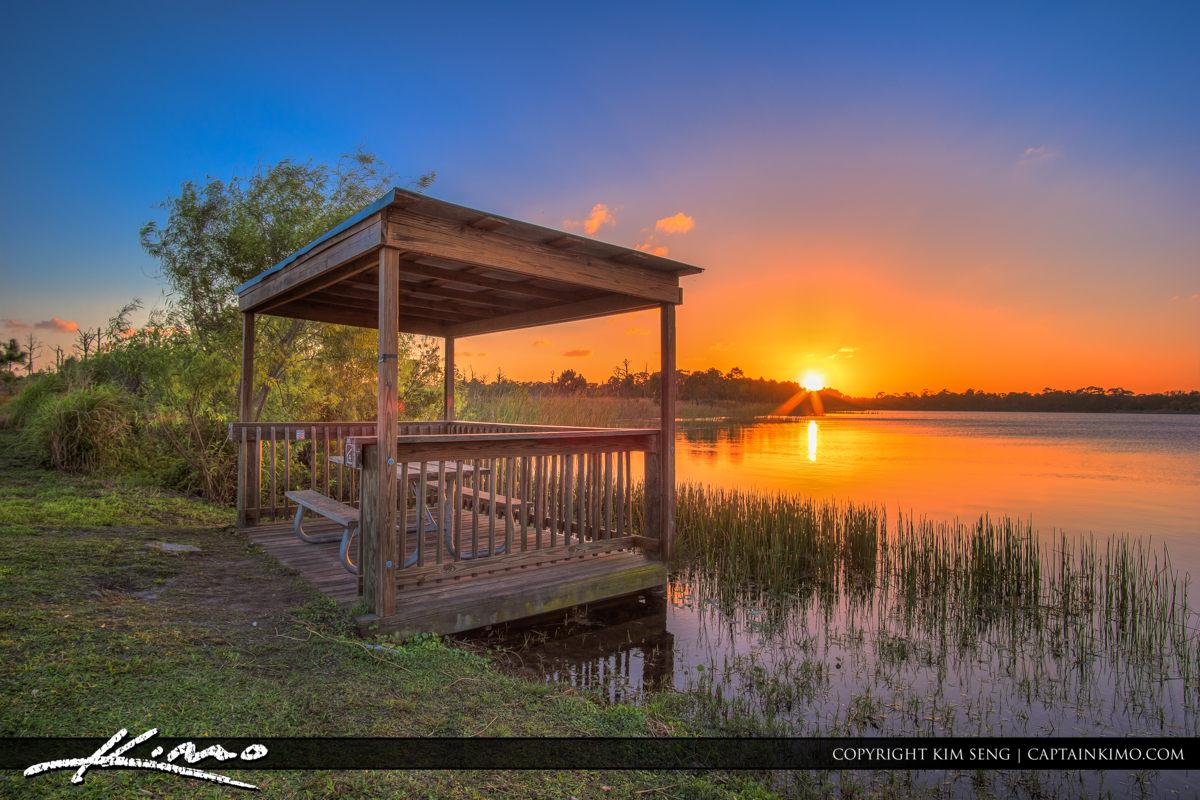 Fort Pierce George LeStrange Preserve Sunset at Gazebo
