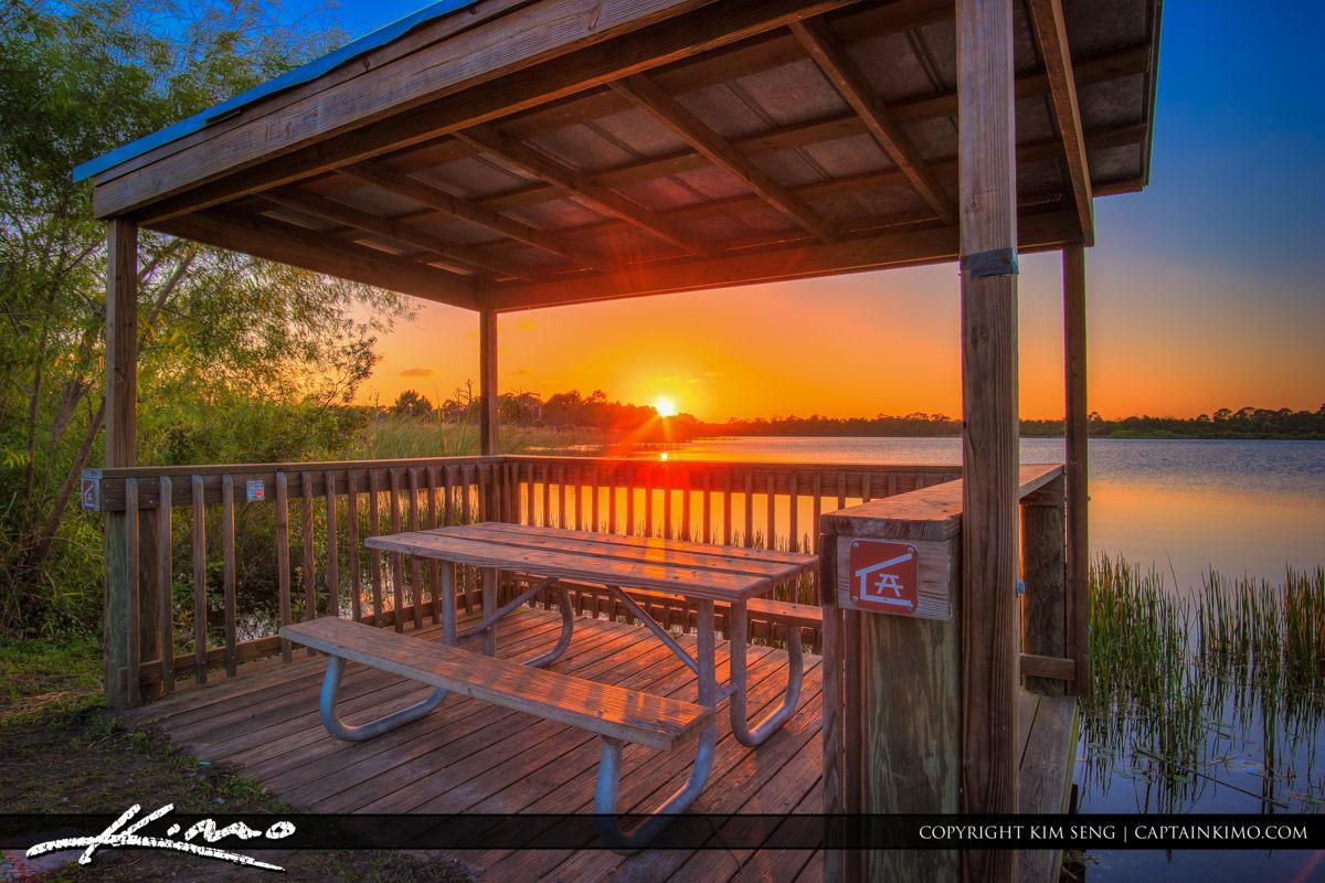 Fort Pierce George LeStrange Preserve Sunset Under Picnic Area