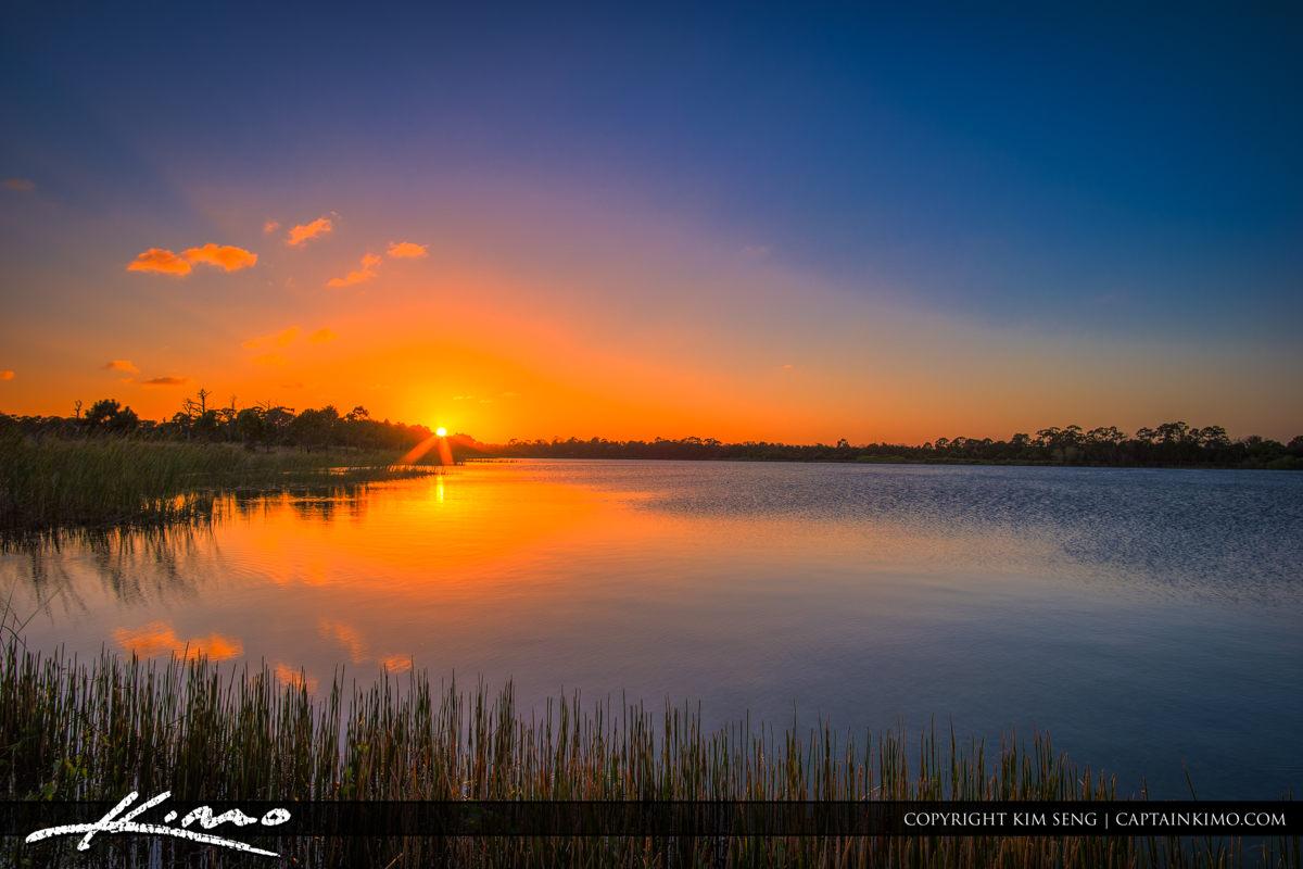 Fort Pierce George LeStrange Preserve Calm Lake Sunset