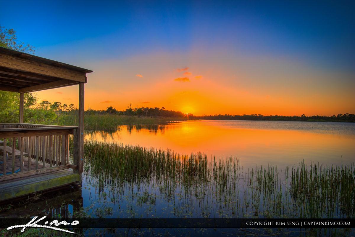 Fort Pierce George LeStrange Preserve Beautiful Sunset at Lake