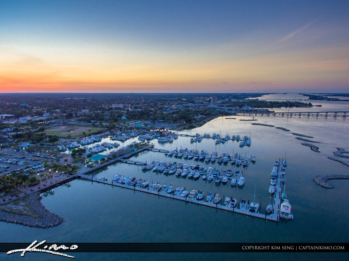 Fort Pierce Aerial Overlooking the Marina at Sunset
