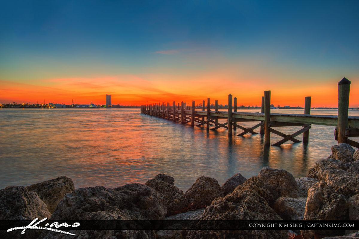 Fort Pierce South Causeway Park Indian River Pier at Sunset