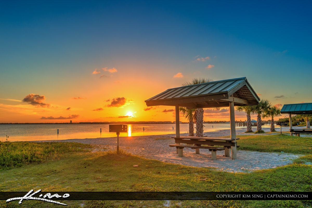 Fort Pierce Jaycee Park Sunset at Picnic Area