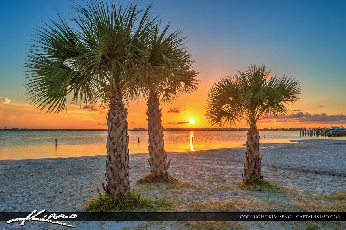 Fort Pierce Jaycee Park Sunset Between Palm Tree