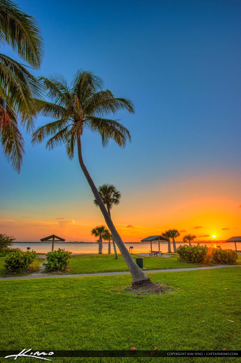 Fort Pierce Jaycee Park Coconut Tree Sunset